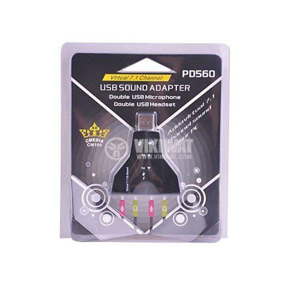 USB звукова карта (контролер) за звук 4 изхода 2 x микрофон + 2 x слушалки - 2