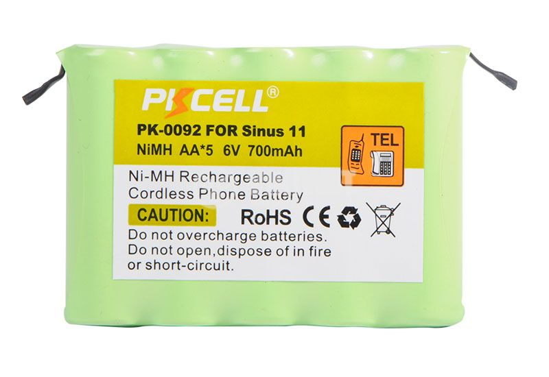 Cordless phone battery PKCELL PK-0092, 5 batteries AA/R06, NiMH, 6VDC, 700mAh   - 1