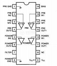 Интегрална схема BA3516, Dual pre-power amplifier, DIP16 - 2