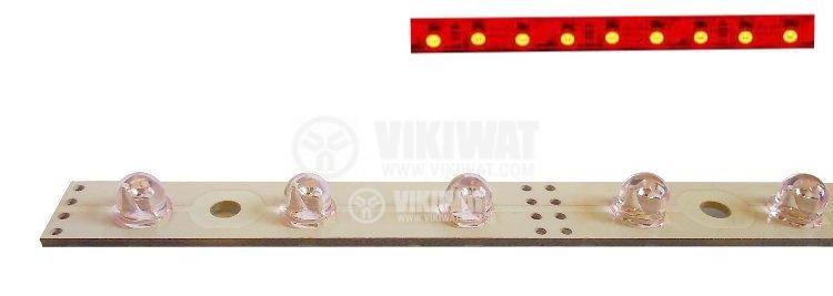 LED твърда лента, 05R2L-120ST, 60led/m, 4.8W/m, 12VDC, невлагозащитена, червен