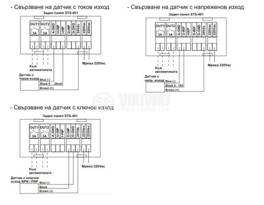 Процес индикатор, STS-401, 220VAC / 24VDC, три входа, два изхода - 3