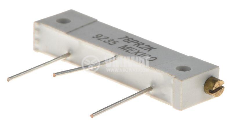 Тример потенциометър 78PR2K, 2kOhm, 1W, многообoротен, хоризонтален, жичен дълъг, THT - 1