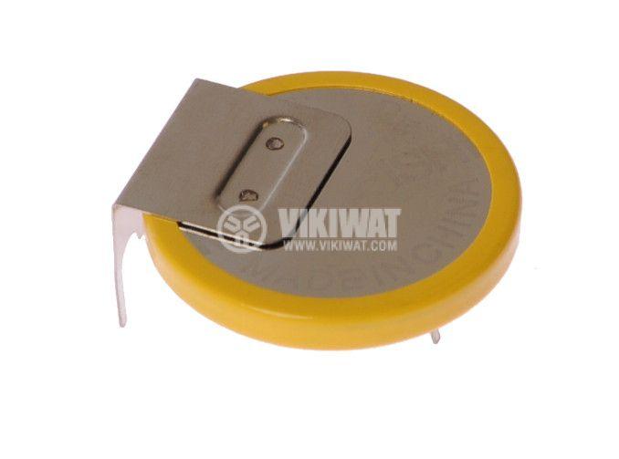 Плоска батерия CR2032, 3VDC, 220mAh, с изводи, хоризонтален монтаж - 2