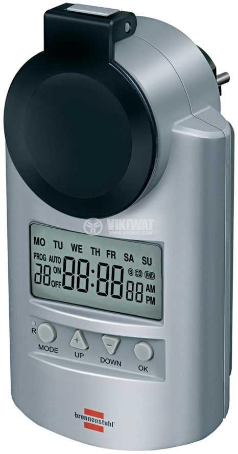 Седмичен електронен таймер за контакт 16А, Brennenstuhl 1507490 - 1