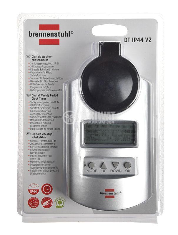Седмичен таймер aдаптер 24-часов, Primera line DT IP44, 16А, Brennenstuhl 1507490 - 2