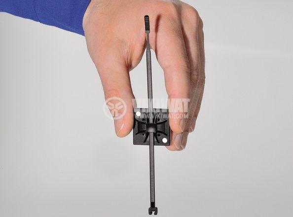 Самозалепваща се основа за кабелни превръзки QM20A-PA66-BK, 20x20mm, черна, HellermannTyton, 151-10914  - 3