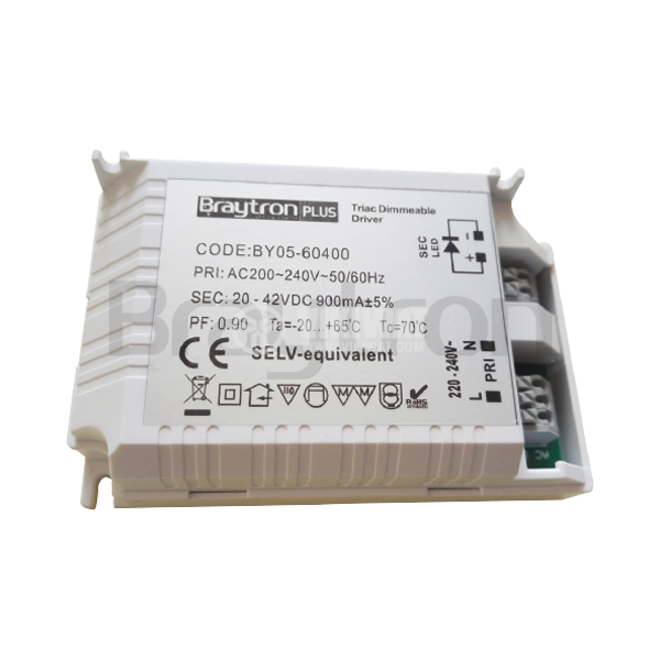LED power supply Dimmable Driver, input voltage 220-240VAC, output voltage 25-42VDC, BY05-60400 - 2