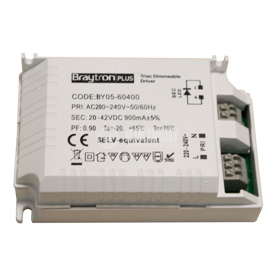 LED power supply Dimmable Driver, input voltage 220-240VAC, output voltage 25-42VDC, BY05-60400 - 1