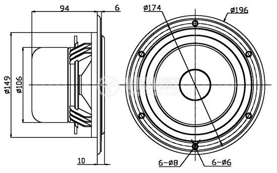"""Low frequency car speacker W6, 8Ohm, 45W, 7.7"""" - 4"""