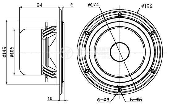 Нискочестотен високоговорител, W6, 8 Ohm, 45W, 196 mm - 4