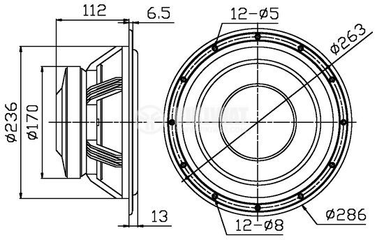 Нискочестотен високоговорител, W10, 8 Ohm, 150W, 286mm - 4