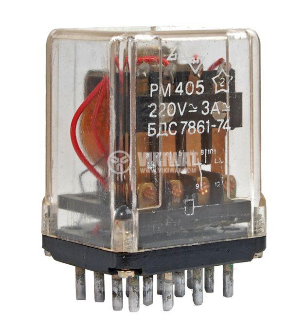 Електромагнитно реле, PM405,12VAC 220VAC/3A 4PDT 4NO+4NC - 1