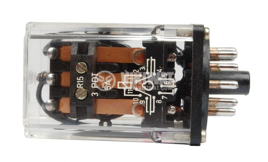 Електромагнитно реле универсално, R15, 12VDC 220VAC/10A 3PDT - 3NO+3NC - 2