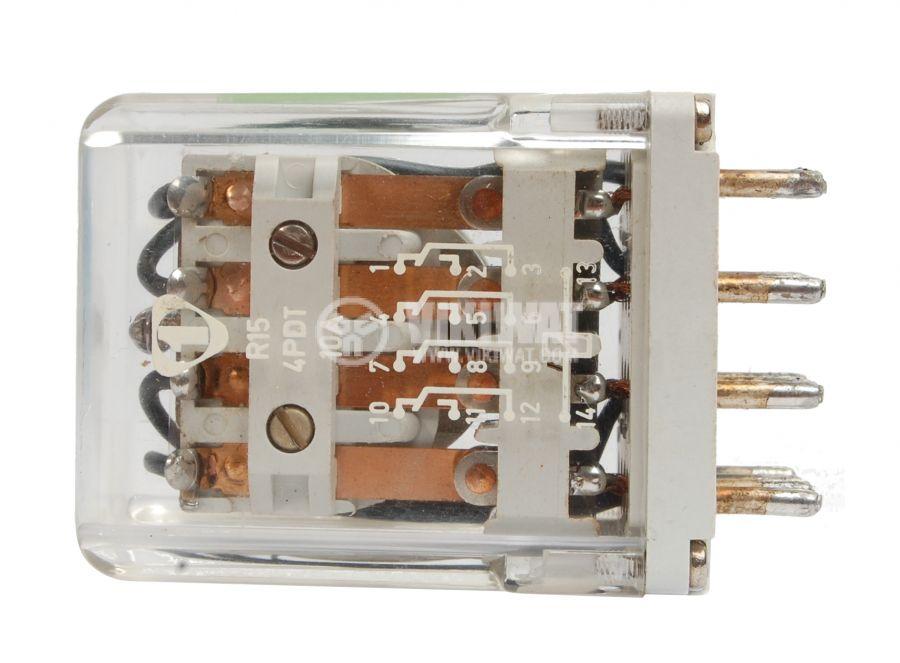 Електромагнитно универсално реле, R15, 12VDC, 220VAC/10A, 4PDT 4NO+4NC - 2