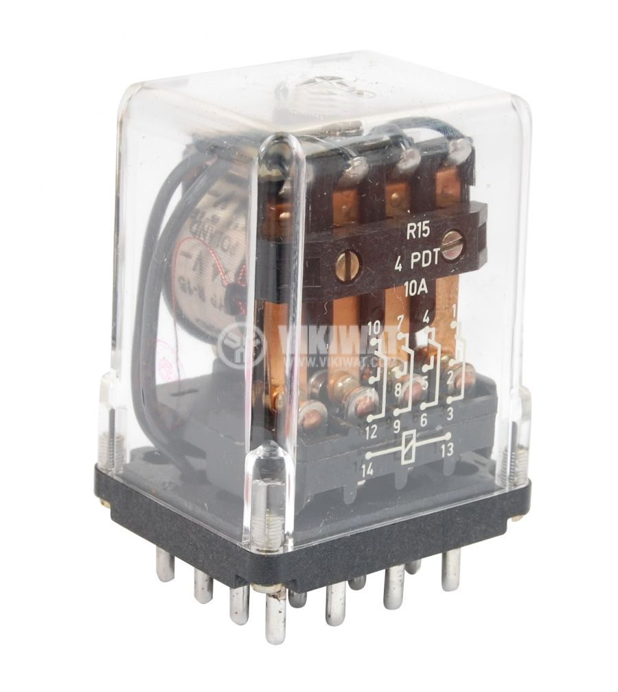 Електромагнитно реле универсално, R15, 24VDC 220VAC/10A 4PDT 4NO+4NC  - 1