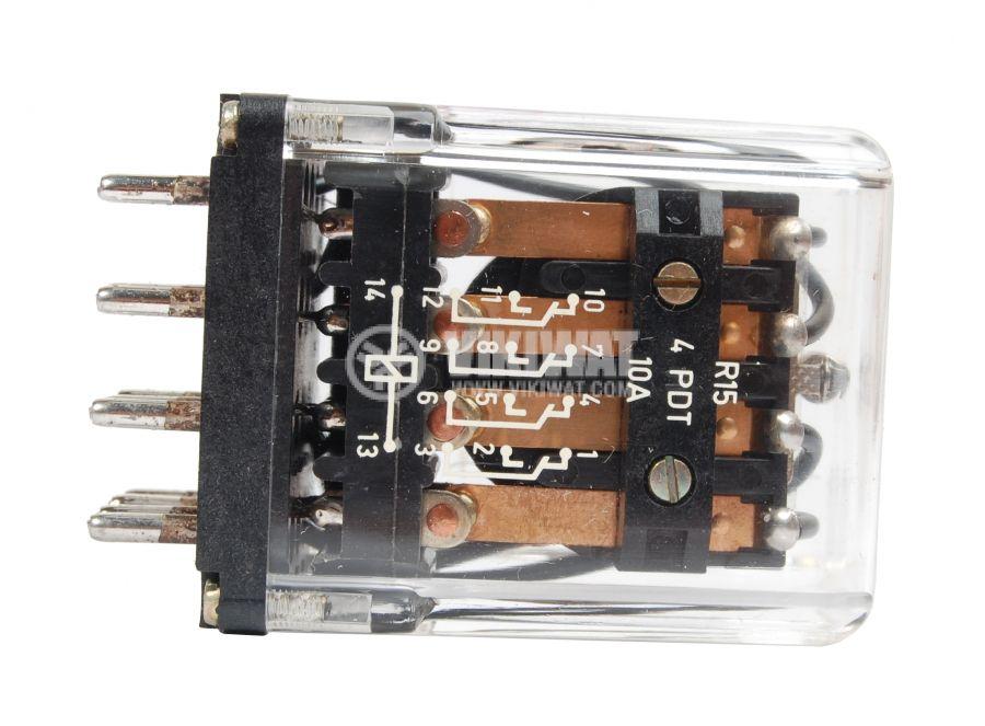 Електромагнитно реле универсално, R15, 24VDC 220VAC/10A 4PDT 4NO+4NC  - 2