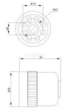Цокъл за реле, US 08, 300 VAC, 10 А, 8pin - 2
