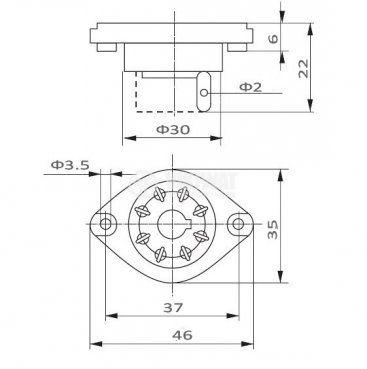 Цокъл за реле GOP8, 300VAC, 10А, 8pin, печатен - 2