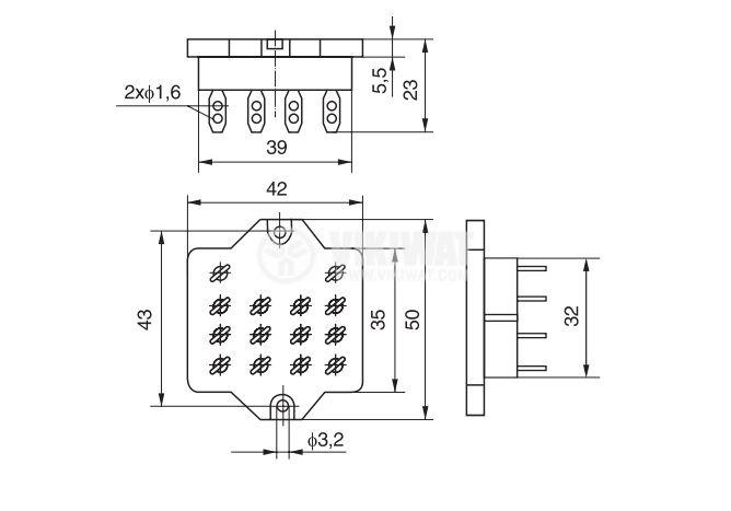 Цокъл за реле GOP-14, 300VAC, 10А, 14pin, печатен - 2