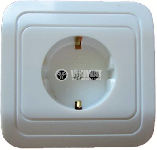 Power Electrical Socket, single, 16A, 250VAC, IP20, white