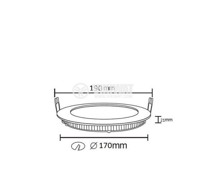 LED панел за вграждане 16W, кръг, 220VAC, 1180lm, 6400K, студенобял, ф190mm, SLIM, BL07-1620 - 2