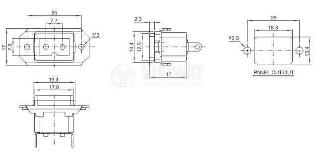 Power DC socket, DB-8-D(T), 10A/250V, male - 2