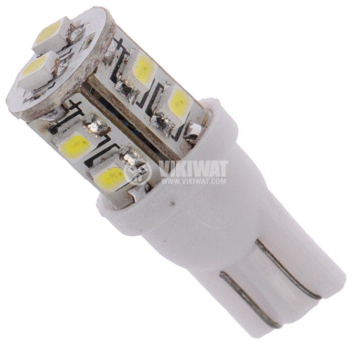 Автомобилна LED лампа  W2.1x9.5d, 12VDC, 1.5W, 10 LED, студено бяла