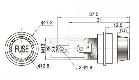 Държач за предпазител 230V 10A 5x20 - 2
