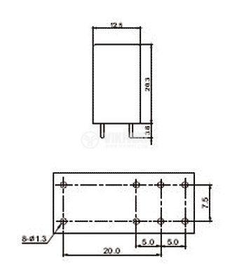 Реле 12VDC, 250VAC/16A, 29x12.5x20.3mm  - 3