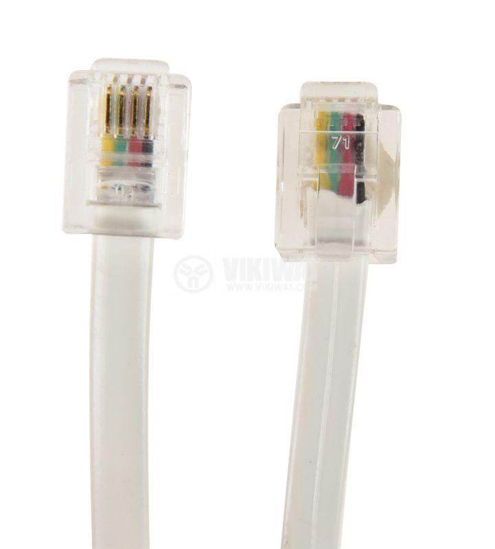 Телефонен кабел, RJ11 6P4C M-RJ11 6P4C M, 4.5m бял, черен - 2