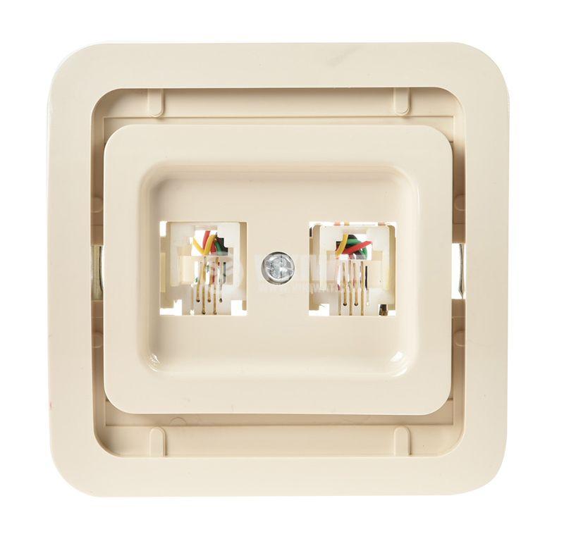 Телефонна розетка, двойна, крем, RJ11, за вграждане - 2