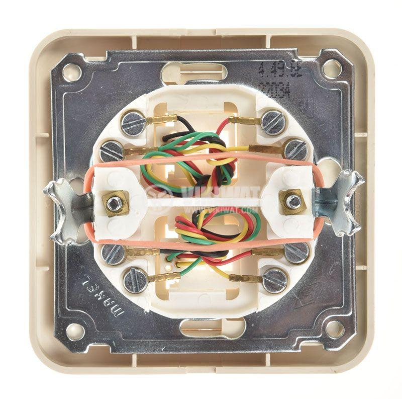 Телефонна розетка, двойна, крем, RJ11, за вграждане - 3
