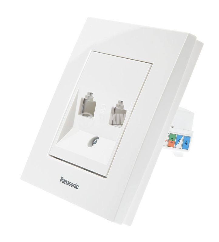 LAN panel socket, dual RJ45, 8P8C, white - 3