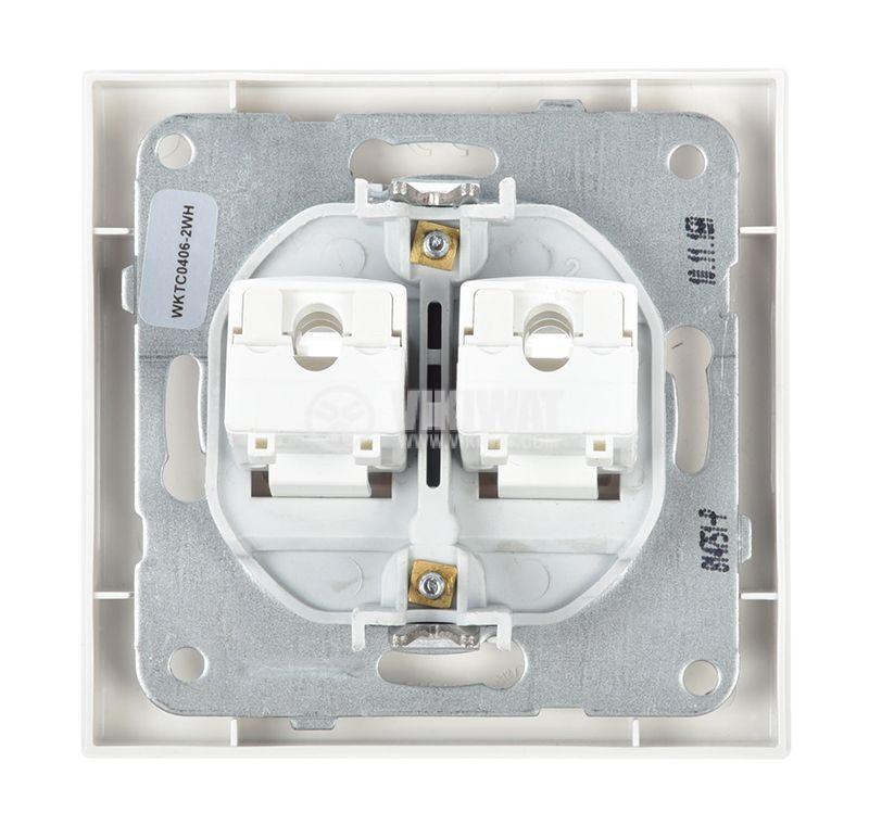 LAN panel socket, dual RJ45, 8P8C, white - 4