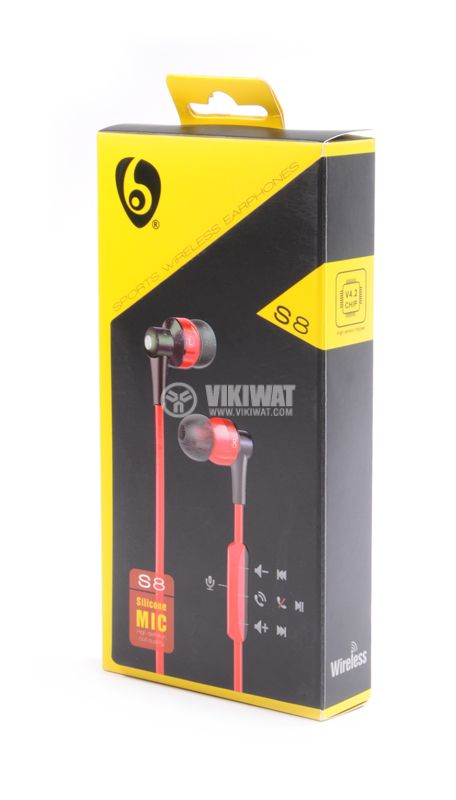Слушалки Ovleng S8, Bluetooth, тапи, 102db, червени - 4