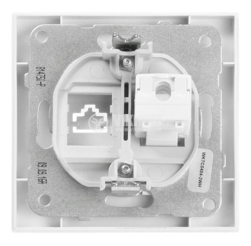 Компютърна розетка, единична, мрежова, LAN, RJ45, 8P8C, бяла - 3