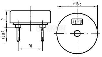 Пиезо трансдюсер, KPT-1711A3, 80dB, 4kHz, Ф16.8x7mm - 2