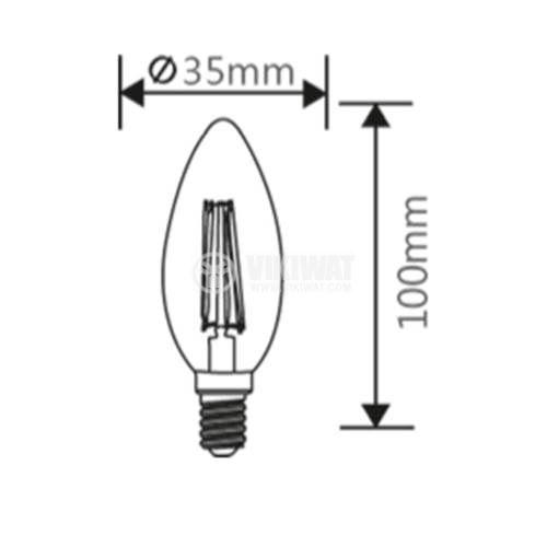 LED лампа FIlament, C35, димируема, 4W, E14, 220VAC, 360lm, 2200K, топлобяла, BB36-60410 - 3
