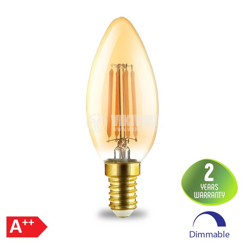 LED FILAMENT bulb 4W, E14, C35, 220VAC, 360lm, 2200K, warm white, candle type, amber, BB36-60410, dimmable - 1