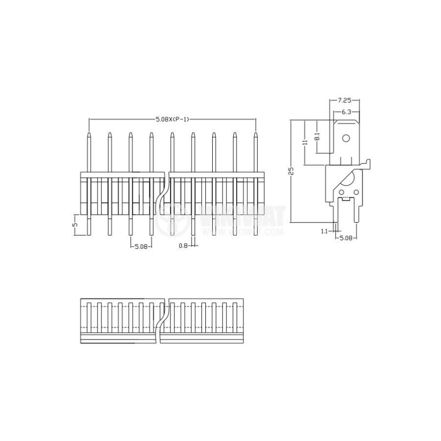 PCB терминален блок без изолационни прегради, XY256V, 3 пина, 12A/250V, прав, за печатен монтаж - 2