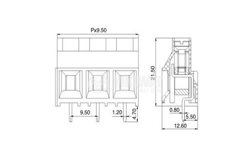 Клеморед за печатна платка 5 mm, VF950 - 9.5, 3 pin, 30A - 2