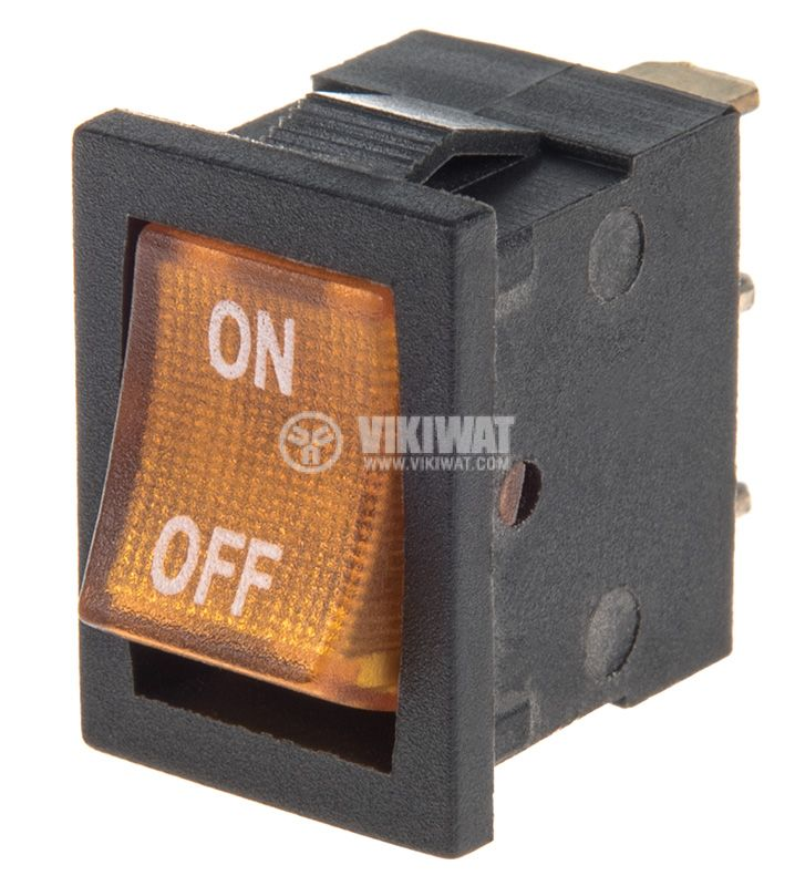 Rocker Switch, 2-position, OFF-ON, 6.5A/250VAC, hole size 19x13mm - 1