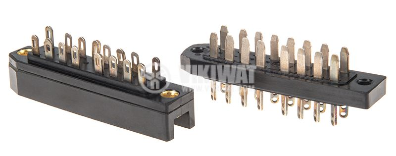 Military connector, 16 pins, male-male, aluminum - 1