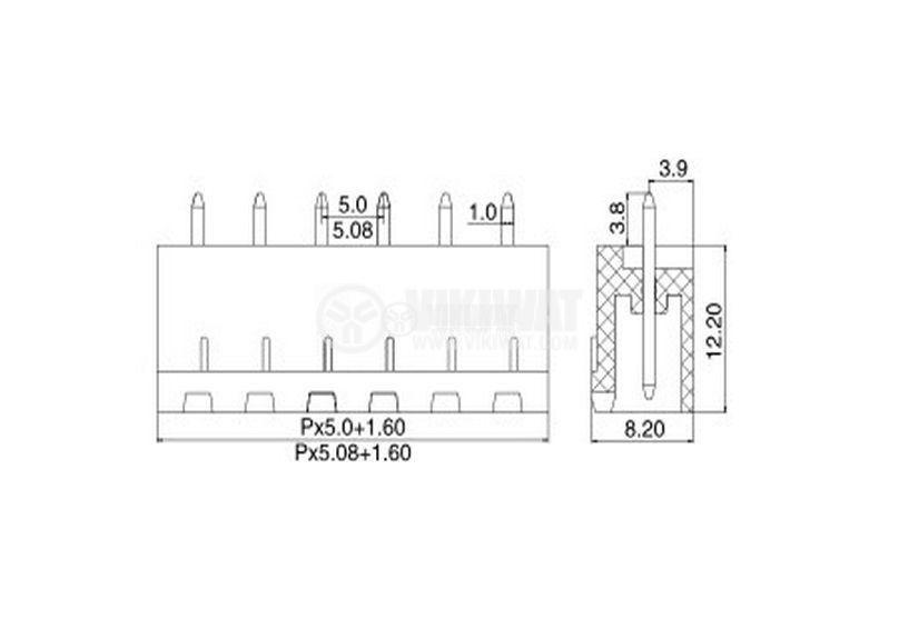 PCB терминален блок 11 пина 12А за печатен монтаж - 3