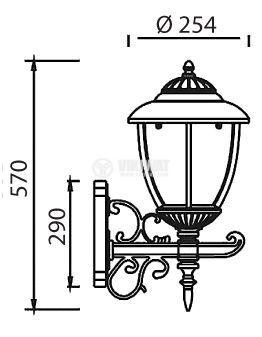Градинска лампа Pacific Big 01, Е27, стенна, старо злато - 2
