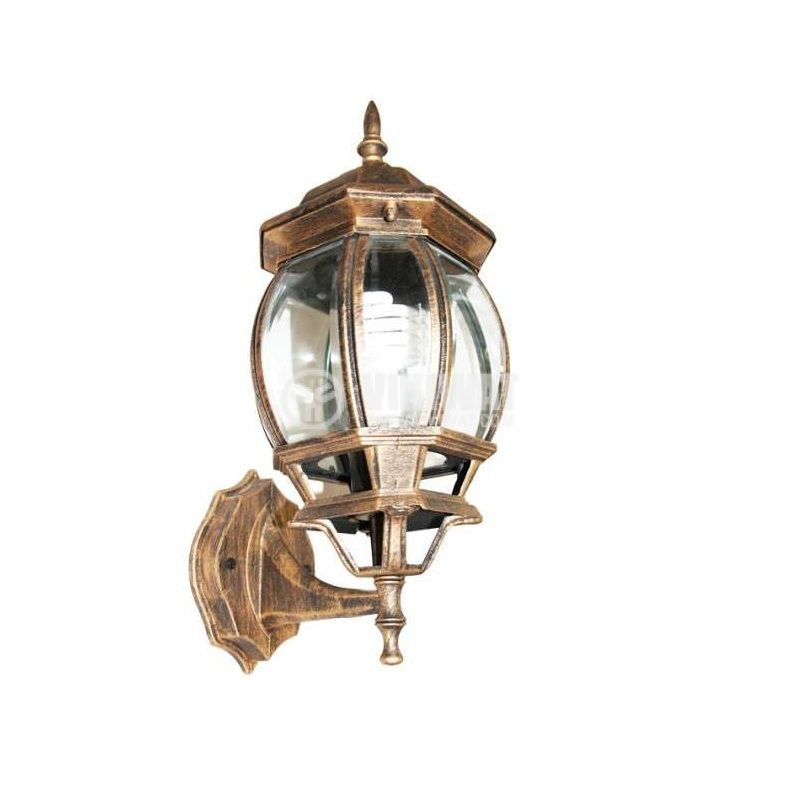 Pacific Big 01, E27 garden wall lamp, wall, old gold - 1