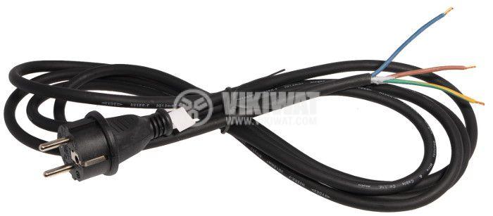 Захранващ кабел 3х1mm2, 5m, шуко, черен, гумиран - 1