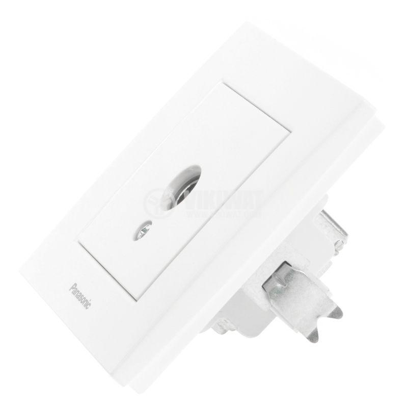 Телевизионна розетка, единична, IEC мъжка, бяла - 2
