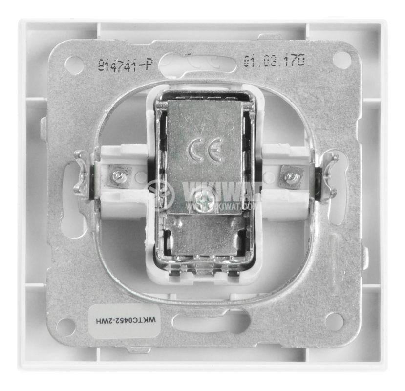 Телевизионна розетка, единична, IEC мъжка, бяла - 3