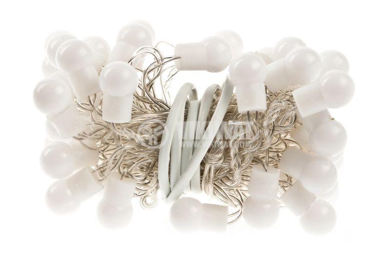 Светеща коледна украса, тип въже, с топки, 5.5m, 50 LEDs, бели - 2